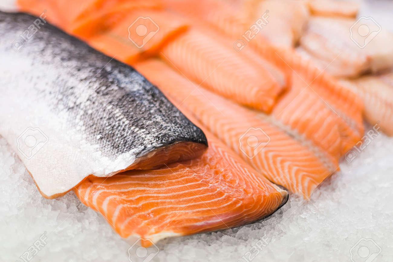 Fresh fish fillet put up for sale in a supermarket refrigerator - 168771195