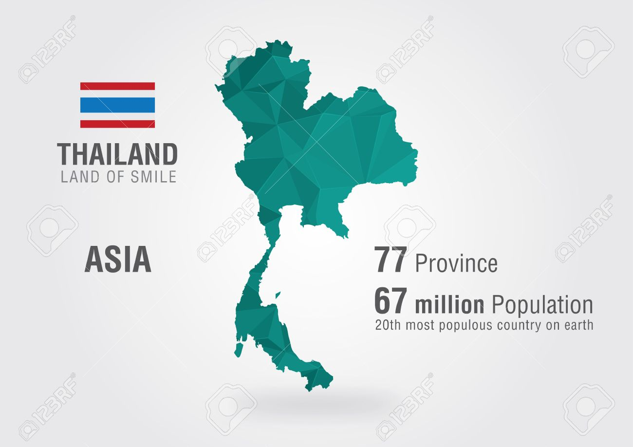 Thailand On The World Map With A Pixel Pattern Royalty Free Cliparts