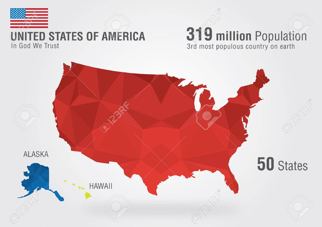 United State Of America USA Map On Earth With A Pixel Diamond - Us map w alaska