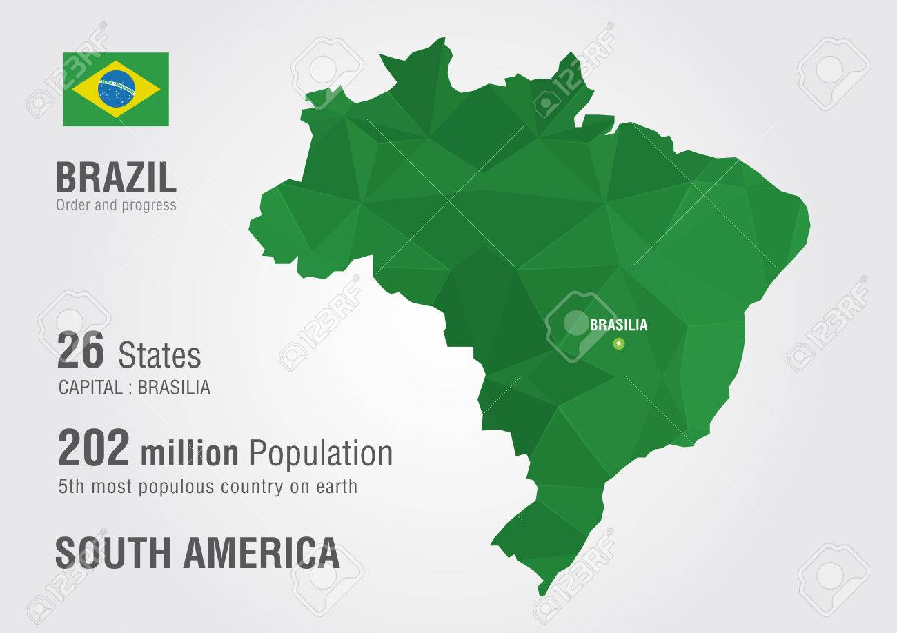 Brazil World Map With A Pixel Diamond Texture Royalty Free Cliparts