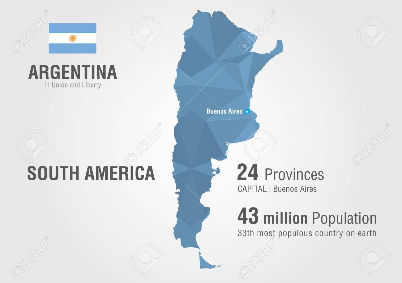 Argentina World Map With A Pattern Of Pixel Diamond Royalty Free ...