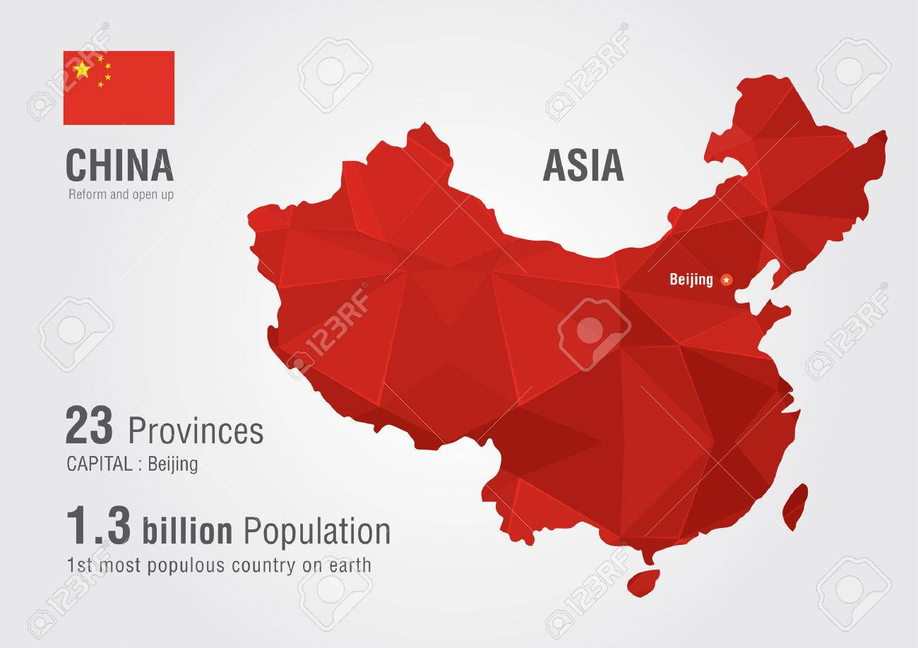 China World Map With A Pixel Diamond Texture World Map Geography - China world map