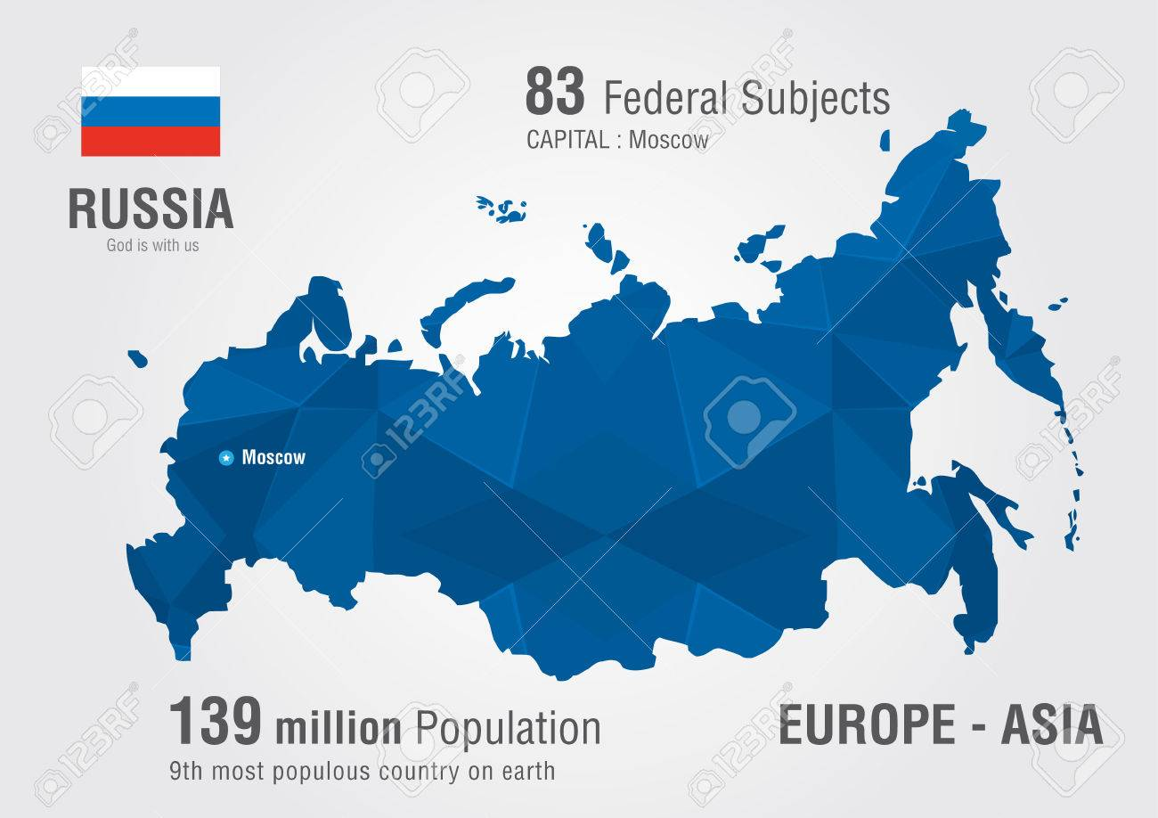 Russia World Map With A Pixel Diamond Pattern World Geography