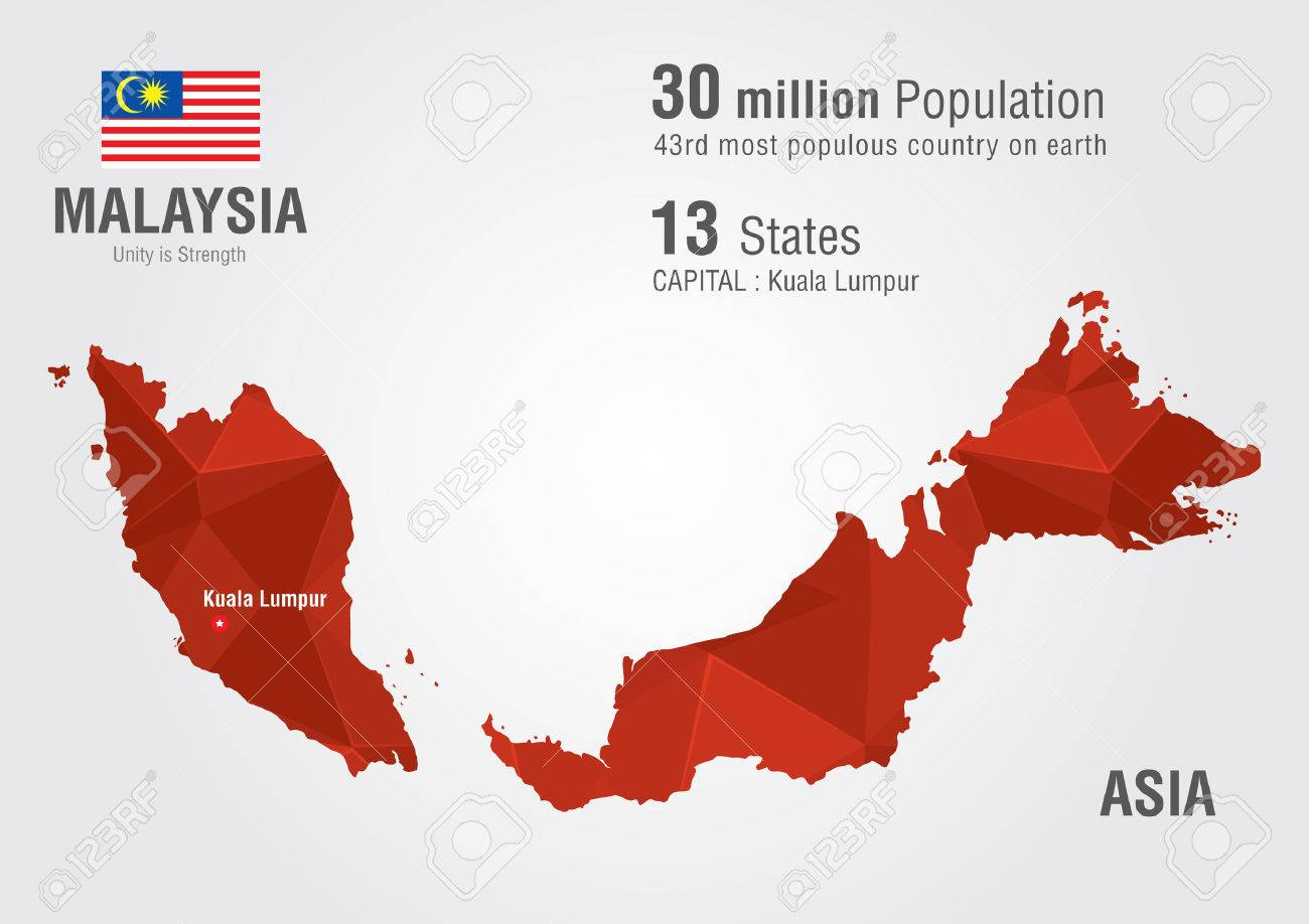 Malaysia World Map With A Pixel Diamond Texture. World Geography ...