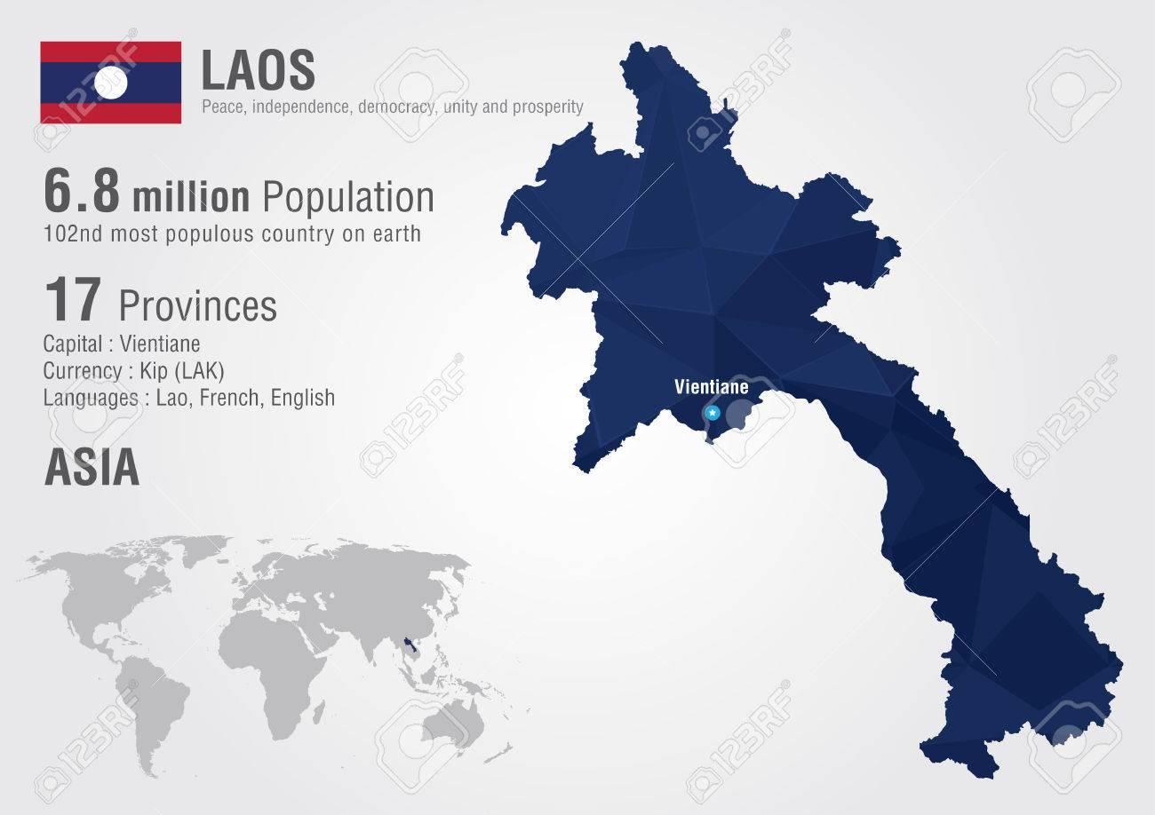 Carte Du Monde Laos.Laos Carte Du Monde Avec Un Diamant De Pixel Texture Geographie