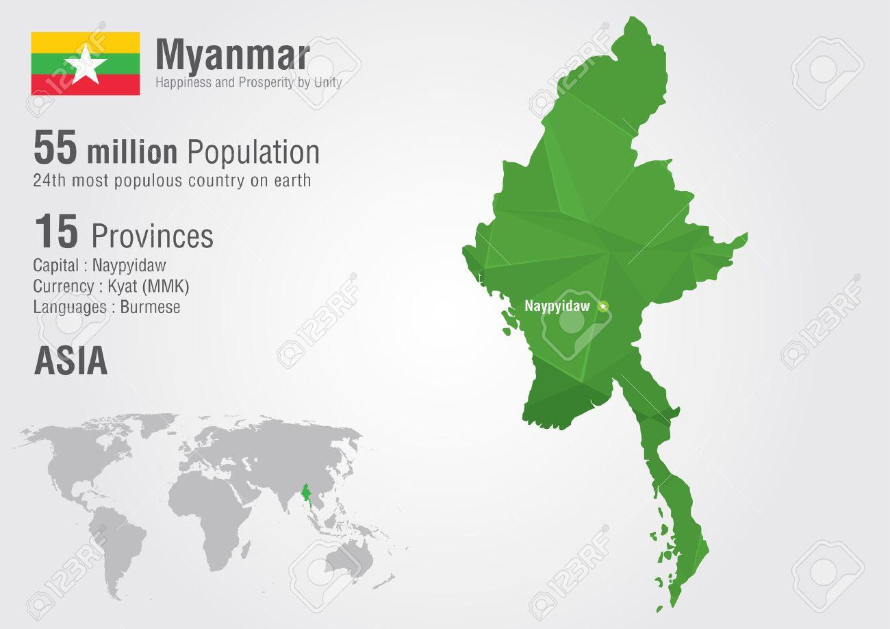 Moderne Myanmar Carte Du Monde Avec Une Texture De Diamant De Pixel. Carte ER-57