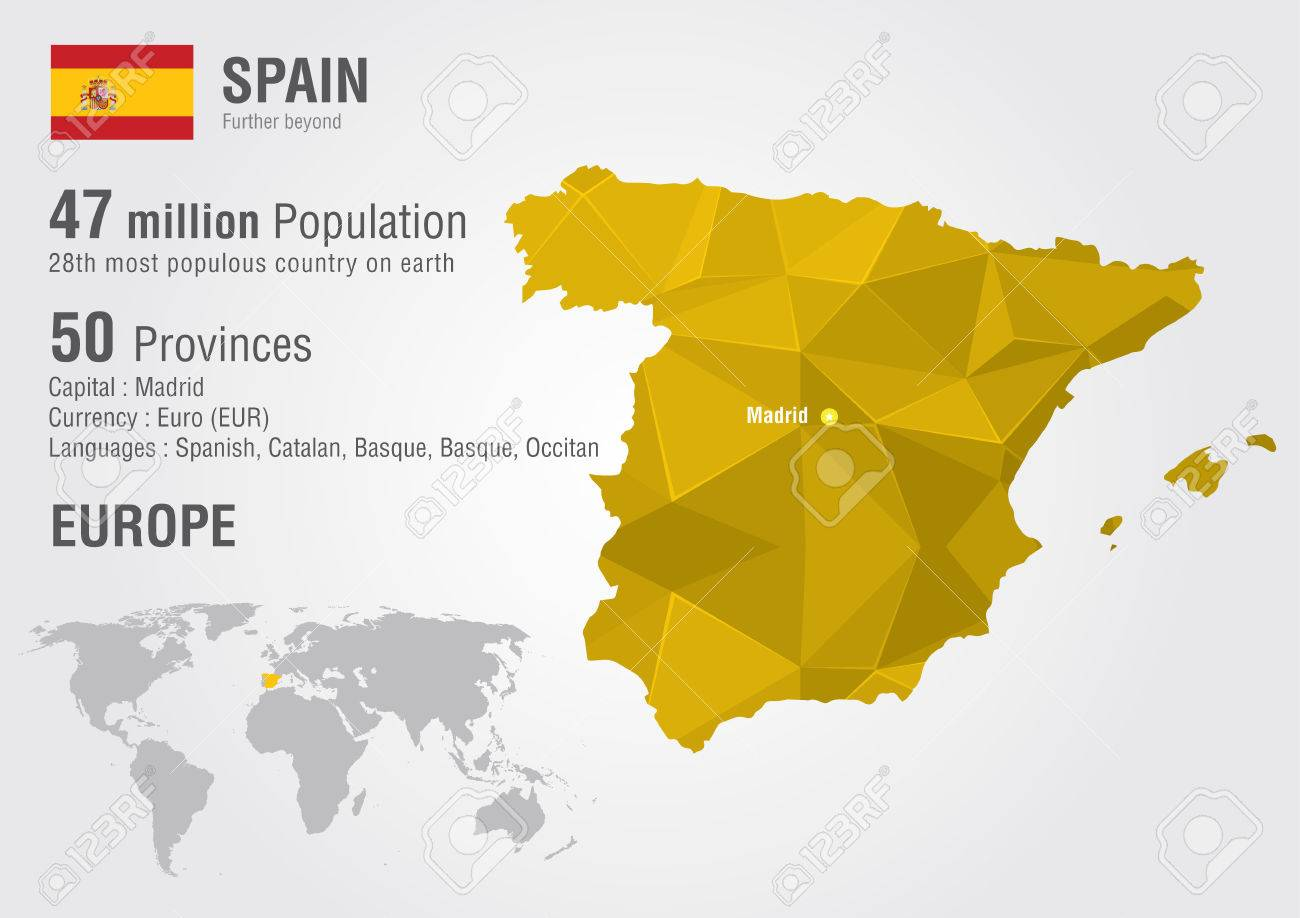 Map Of Spain Geography.Spain World Map With A Pixel Diamond Texture World Geography