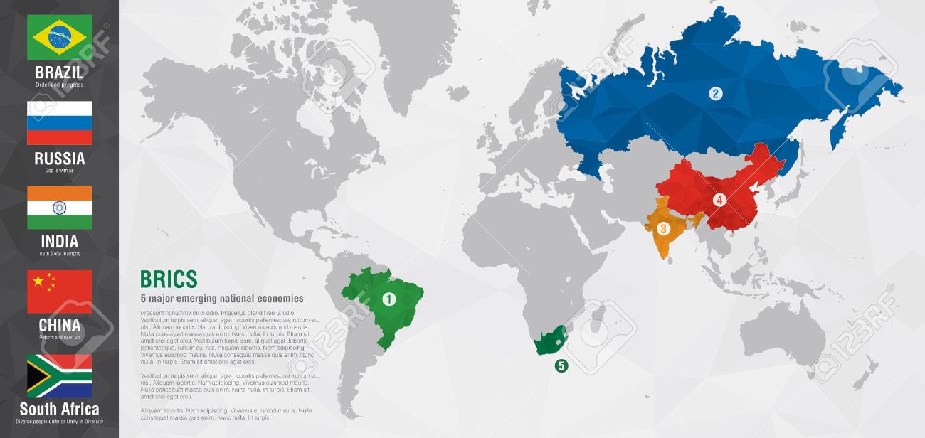 BRICS World Map With A Pixel Diamond Texture Brazil Russia India - Russia on a world map