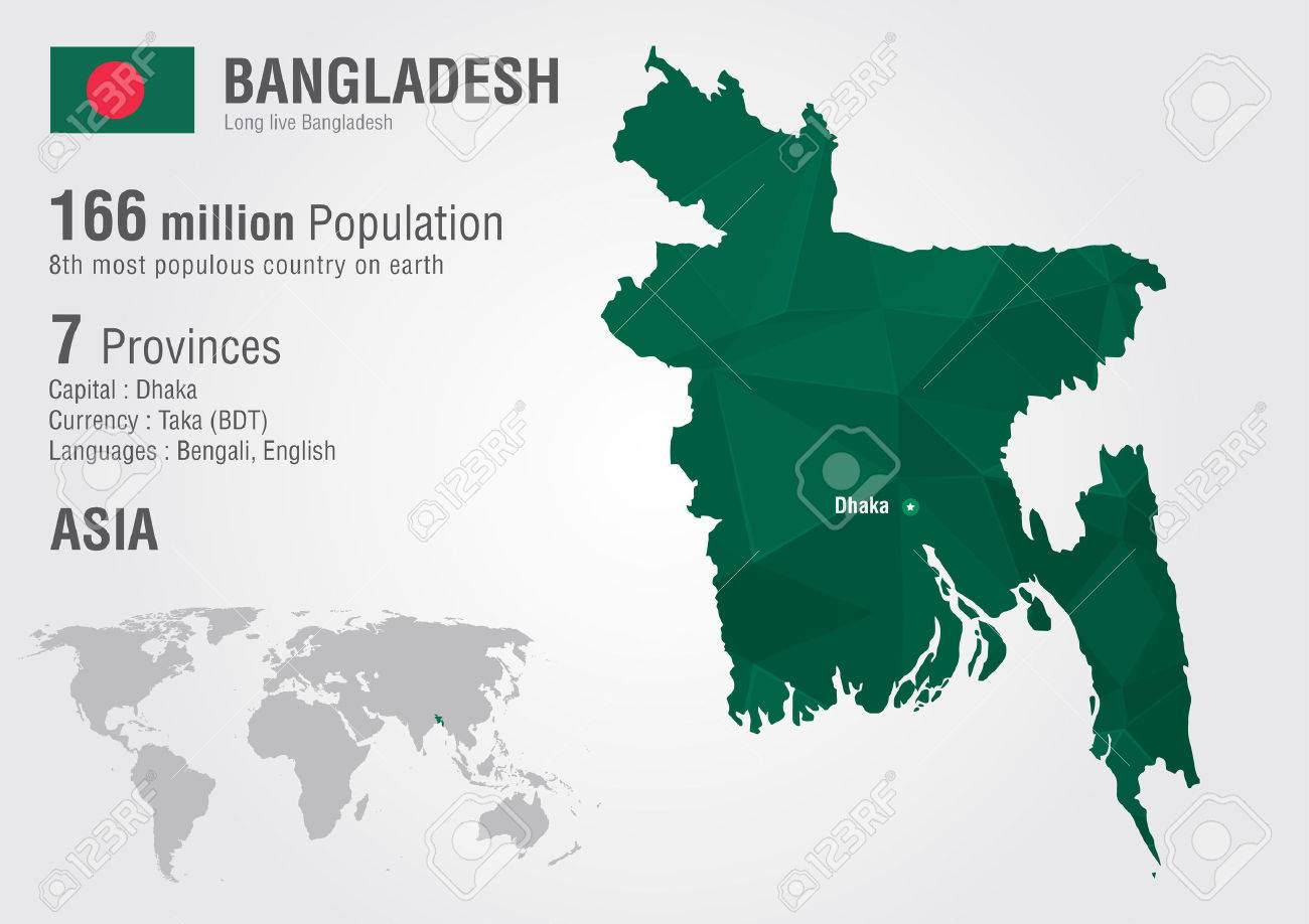Picture of: Bangladesh World Map Woth A Pixel Diamond Texture World Geography Royalty Free Cliparts Vectors And Stock Illustration Image 30176384