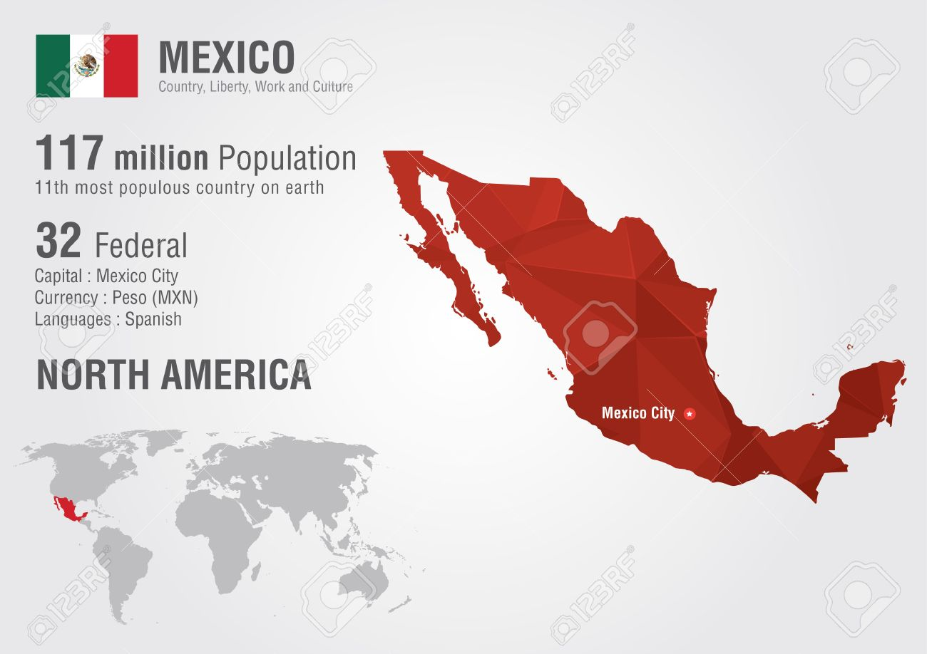 Mexico World Map With A Pixel Diamond Texture. World Geography ...