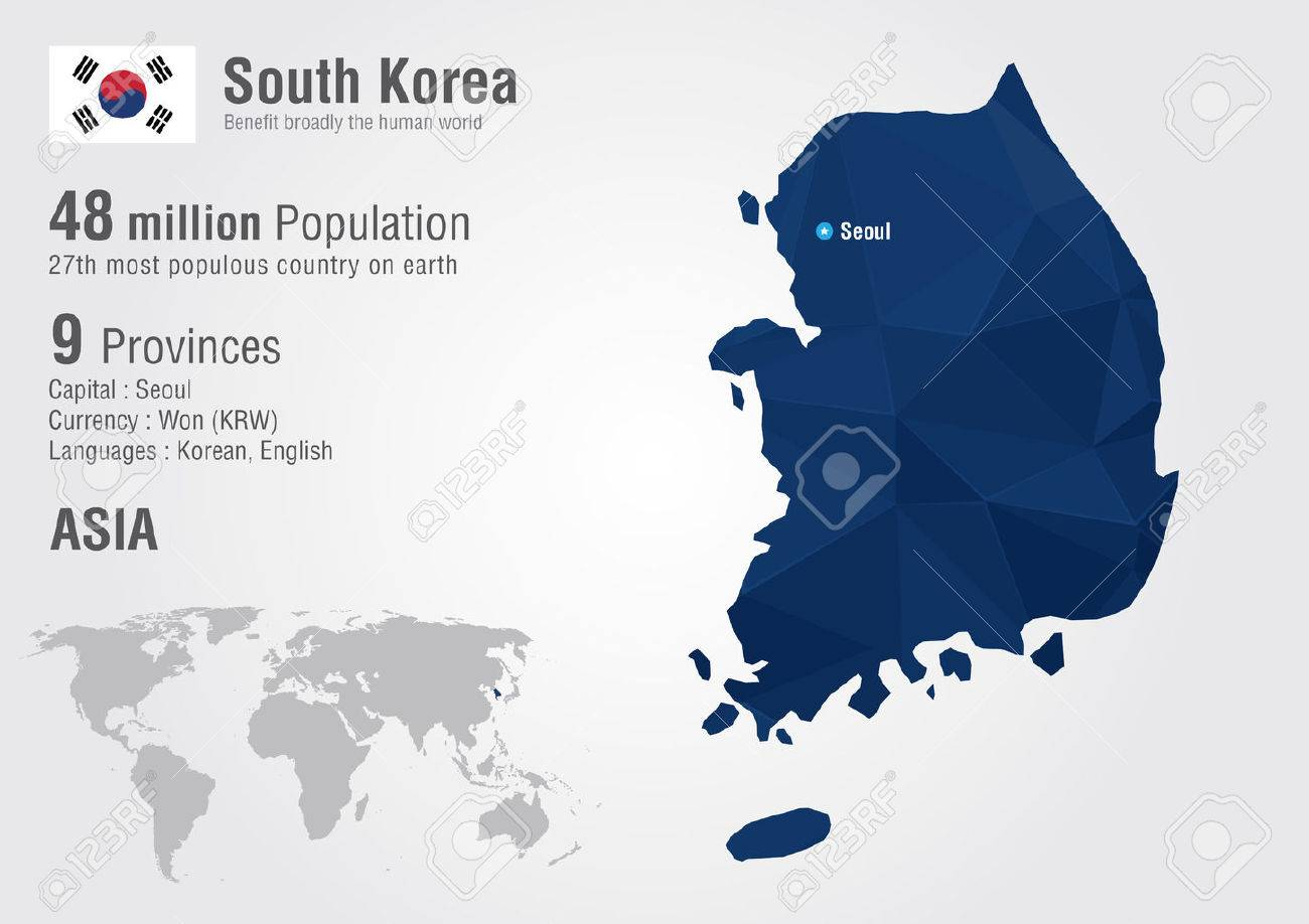 South Korea World Map With A Pixel Diamond Texture. World Geography ...