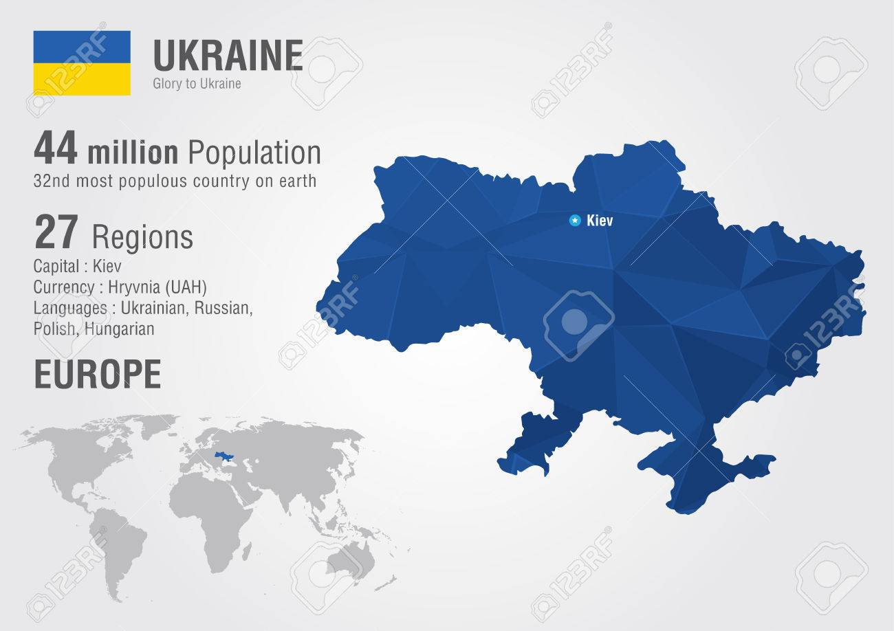 Ukraine World Map With A Pixel Diamond Texture World Geography ...