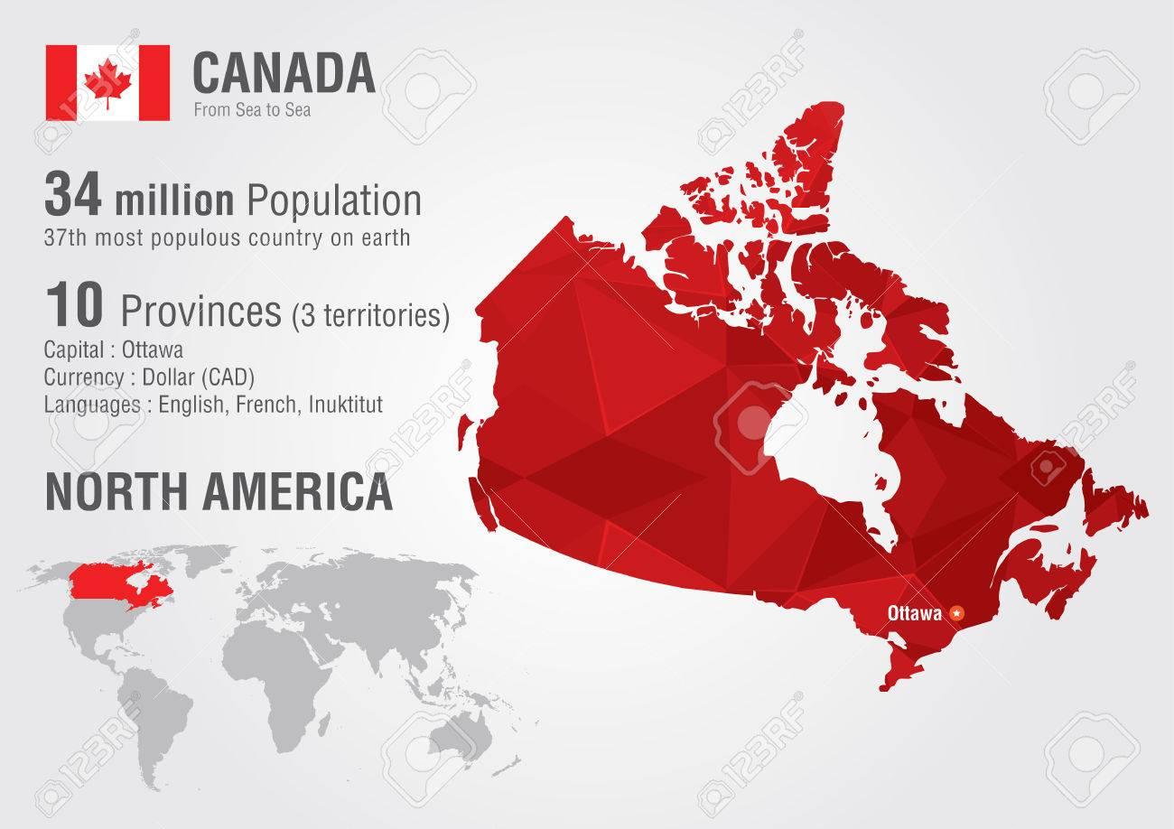 Carte Canada Dans Le Monde.Carte Du Canada Dans Le Monde Avec Une Texture De Diamant De Pixel Geographie Du Monde