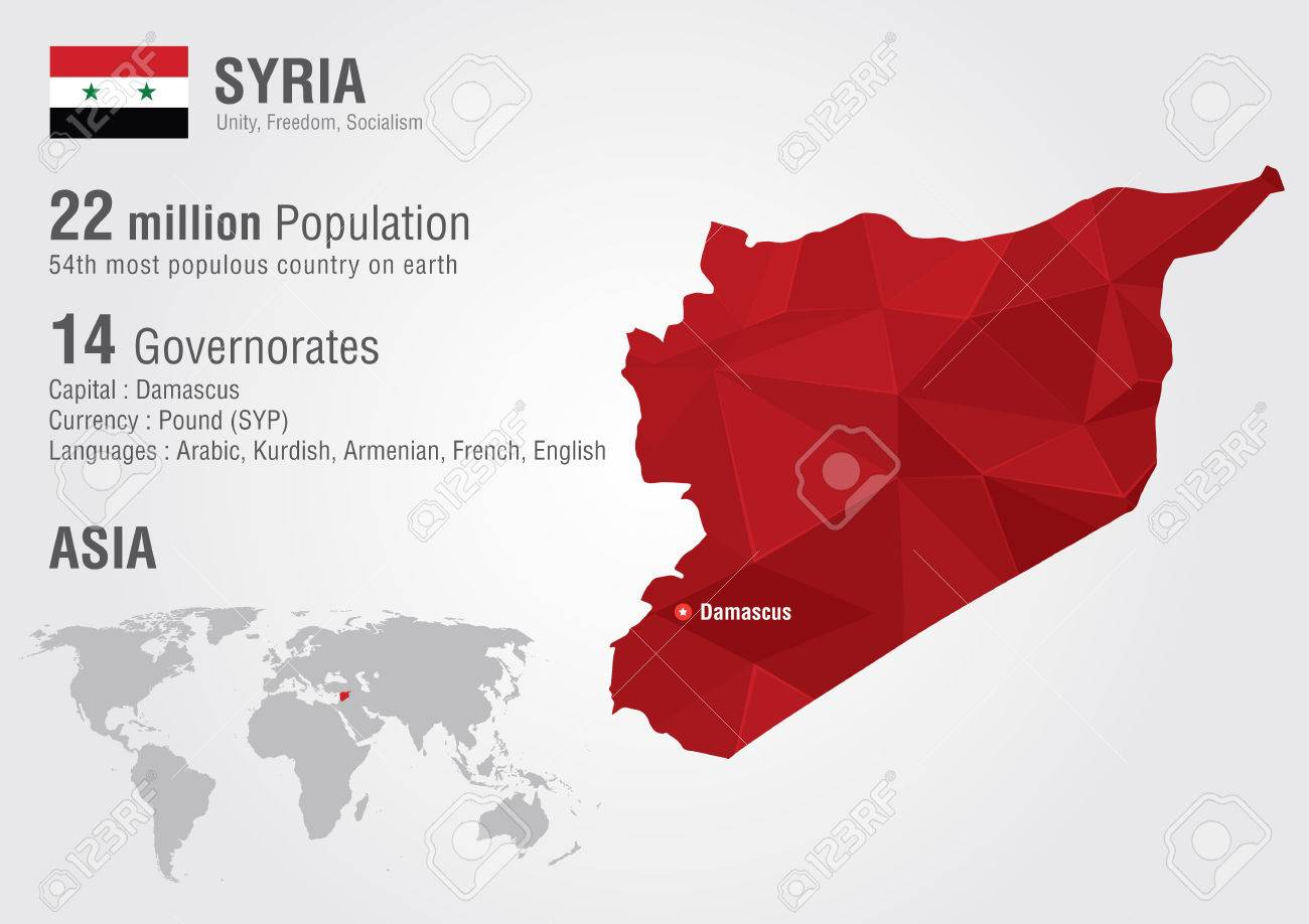 Syria World Map With A Pixel Diamond Texture World Geography – Syria Map World