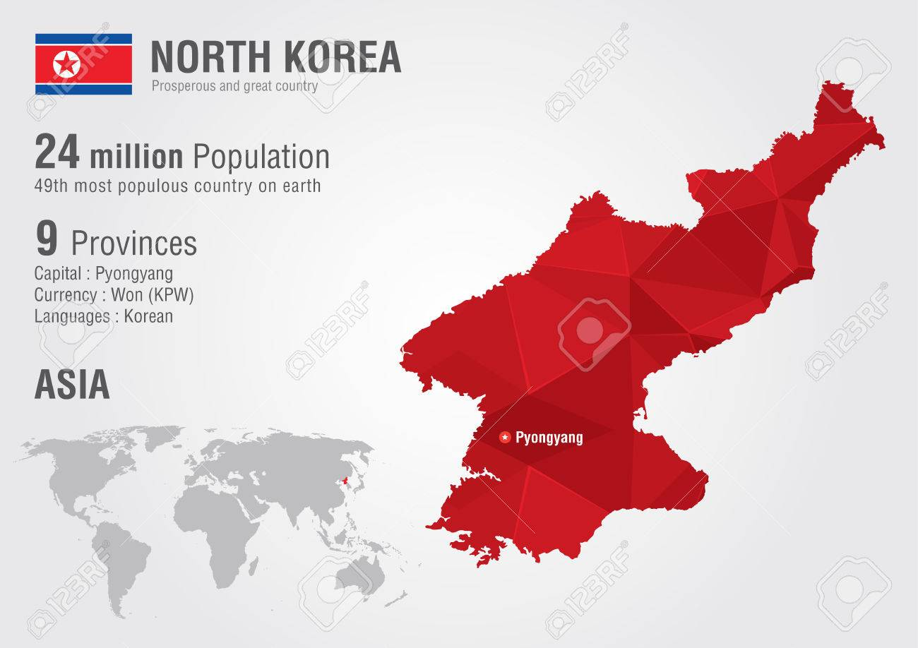 North Korea World Map With A Pixel Diamond Texture World Grography ...
