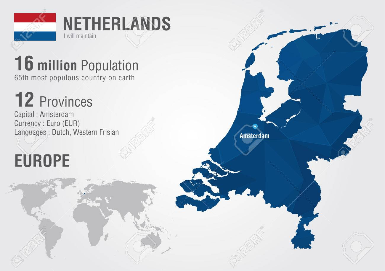 Image of: Netherlands World Map With A Pixel Diamond Texture World Geography Royalty Free Cliparts Vectors And Stock Illustration Image 30509916