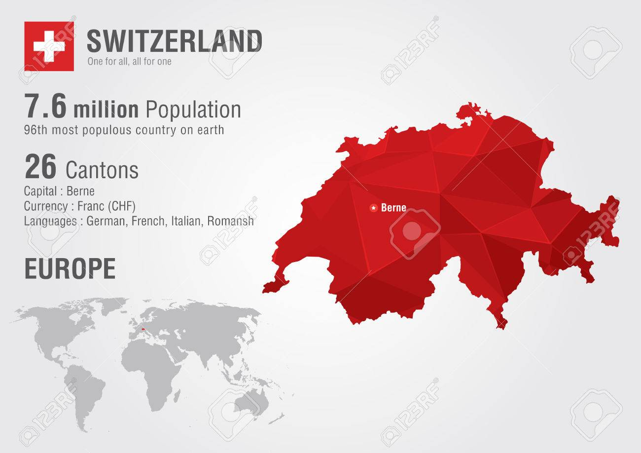 Switzerland World Map With A Pixel Diamond Texture World Geography