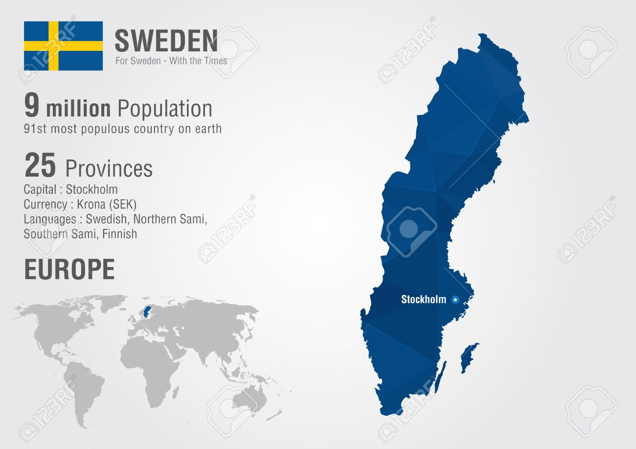 sweden world map with a pixel diamond texture world geography