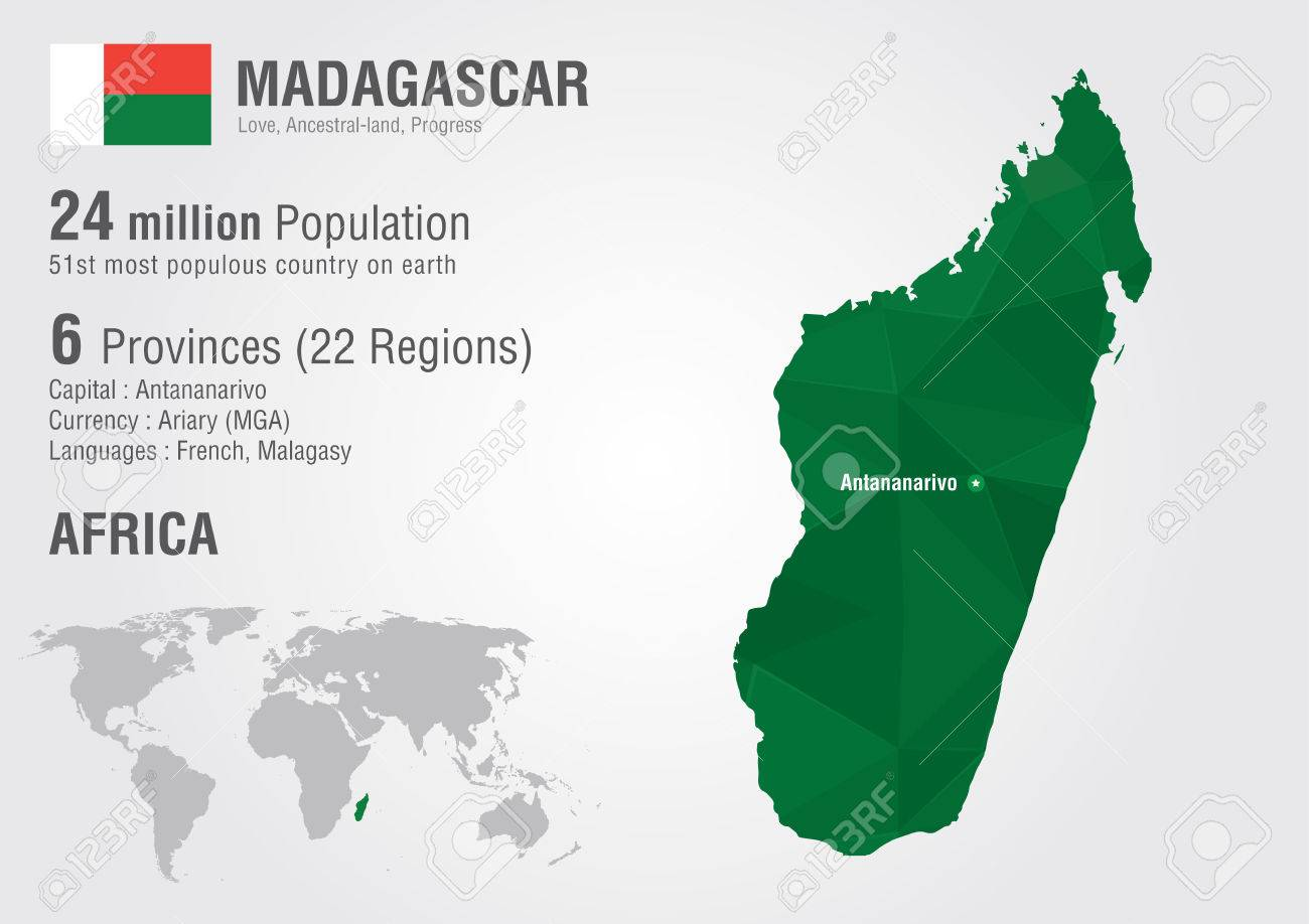 Madagascar world map with a pixel diamond texture World Geography