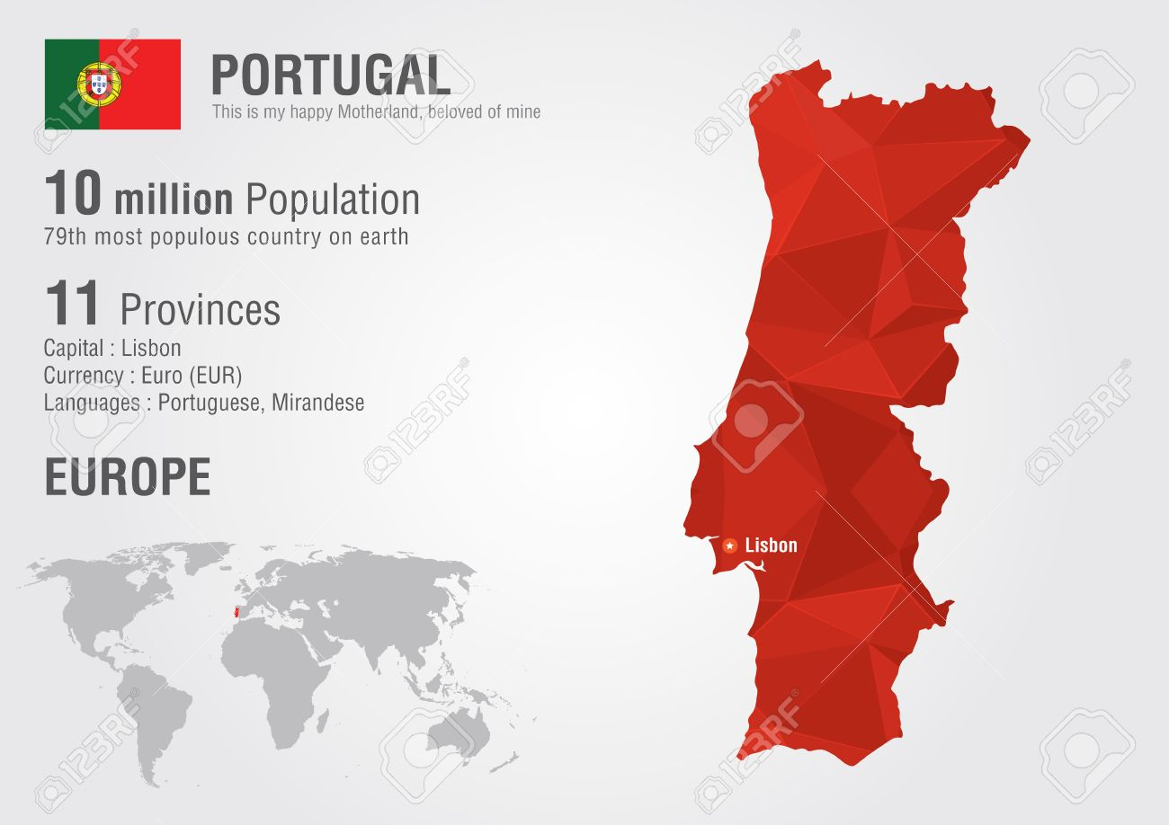 Portugal World Map With A Pixel Diamond Texture World Geography ...