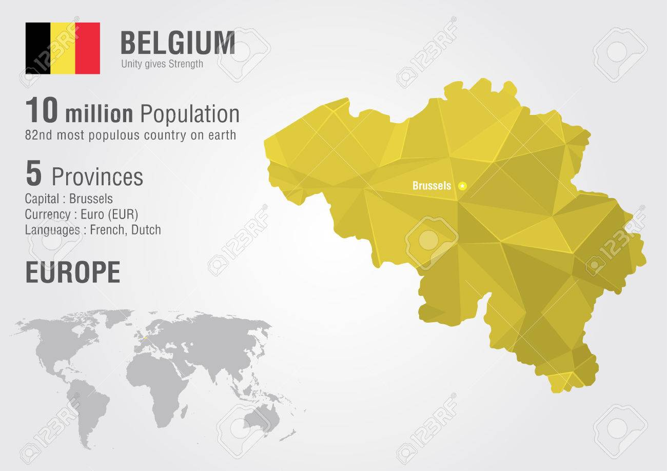 Belgium World Map With A Pixel Diamond Texture World Geography