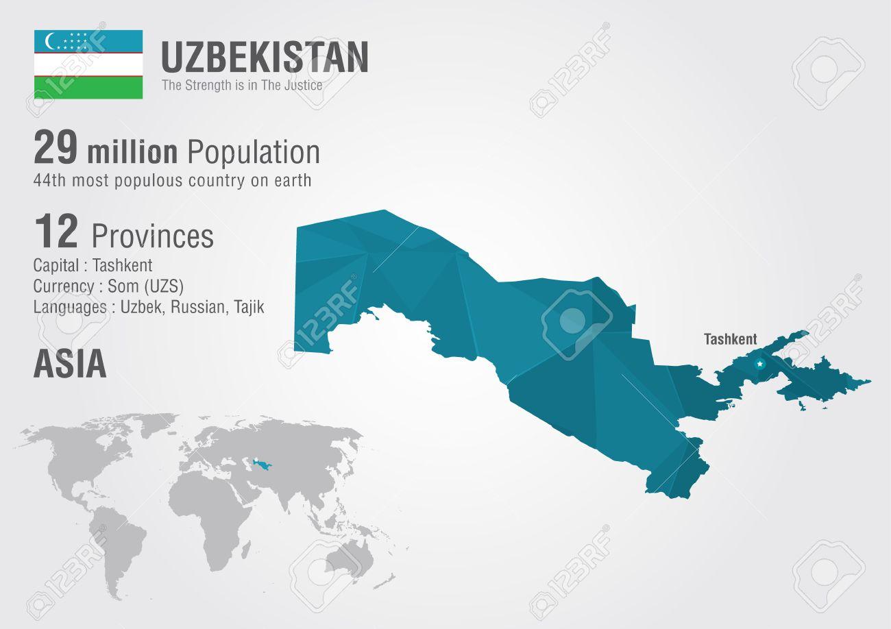 Uzbekistan world map with a pixel diamond texture. World geography.