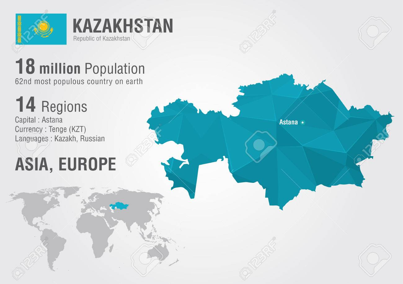 Picture of: Kazakhstan World Map With A Pixel Diamond Texture World Geography Royalty Free Cliparts Vectors And Stock Illustration Image 30394230