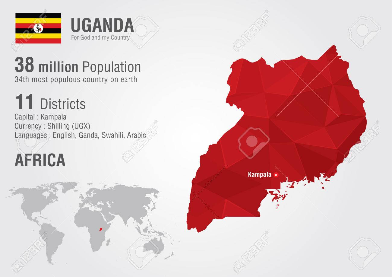 Uganda World Map With A Pixel Diamond Texture World Geography ...