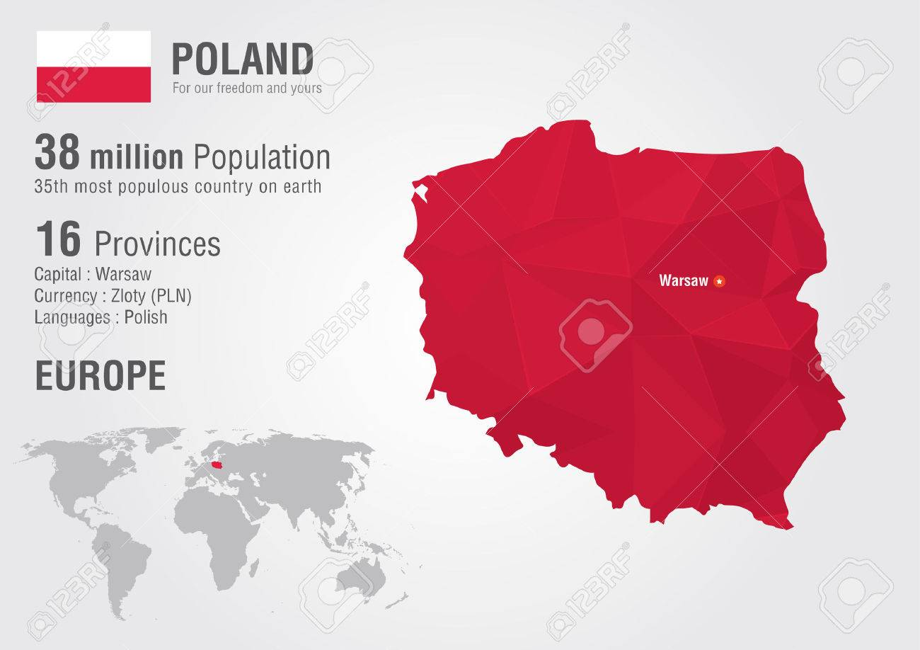 Poland World Map With A Pixel Diamond Texture. World Geography ...