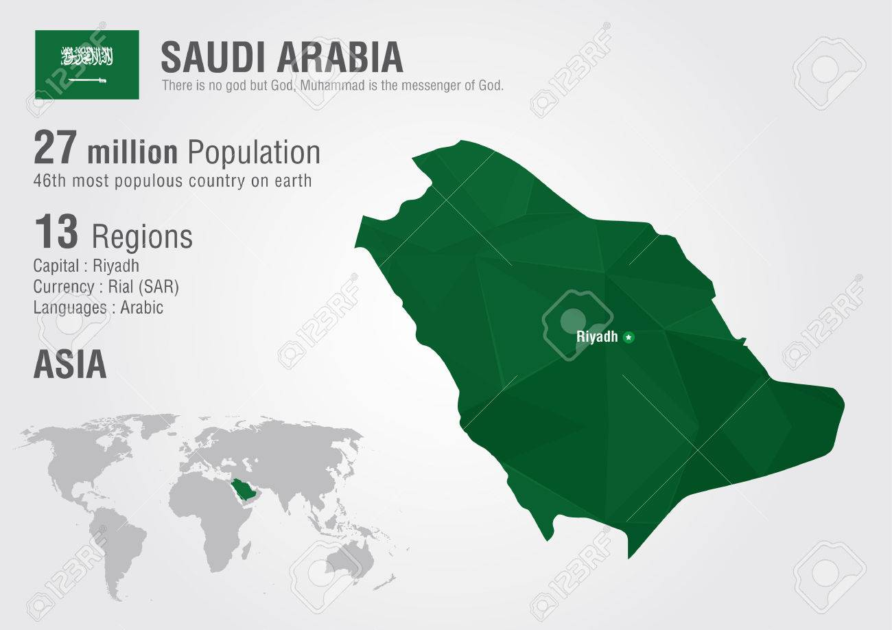 Saudi Arabia World Map With A Pixel Diamond Texture. World Geography ...