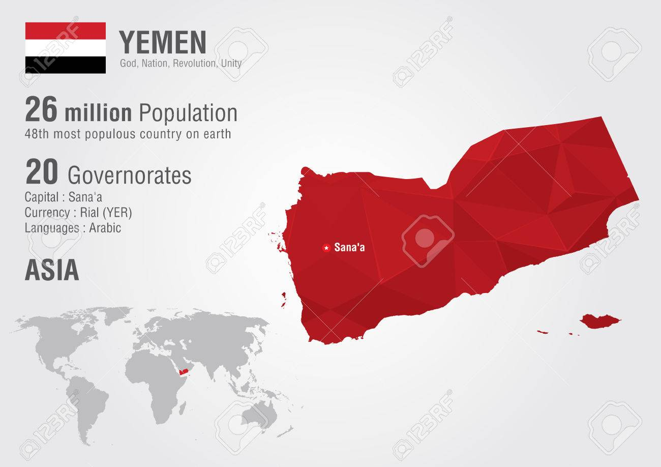 vector yemen world map with a pixel diamond texture world geography