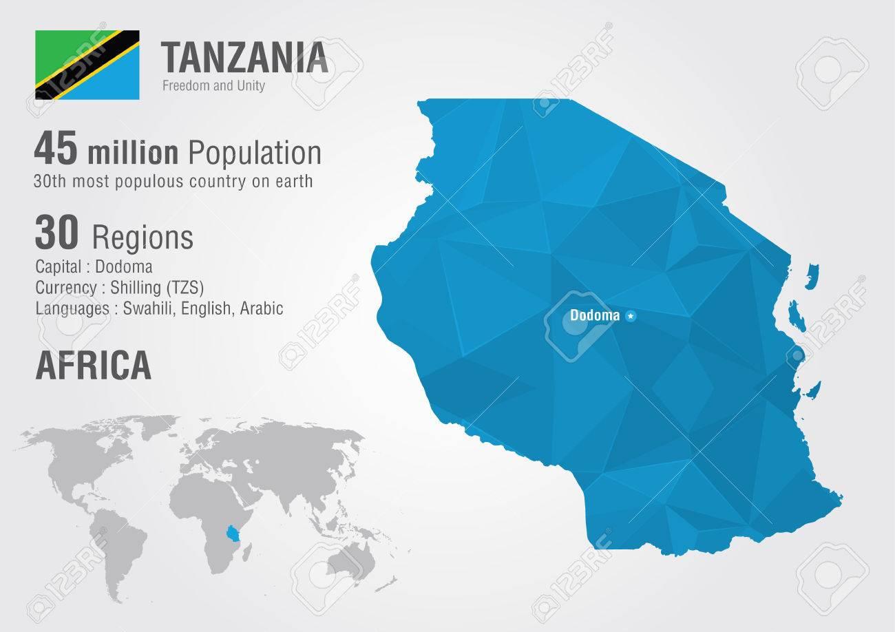 Tanzania World Map With A Pixel Diamond Texture World Geography - World map geography