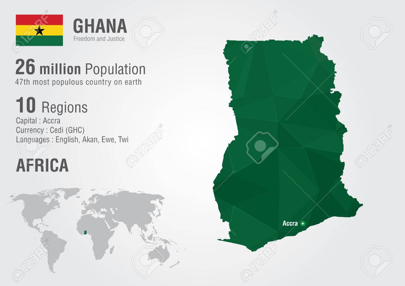 Ghana On A World Map.Ghana World Map With A Pixel Diamond Texture World Geography Royalty