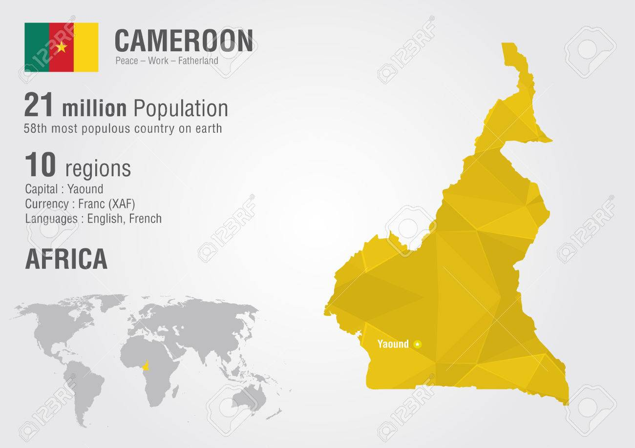 Cameroon world map with a pixel diamond texture. World geography.
