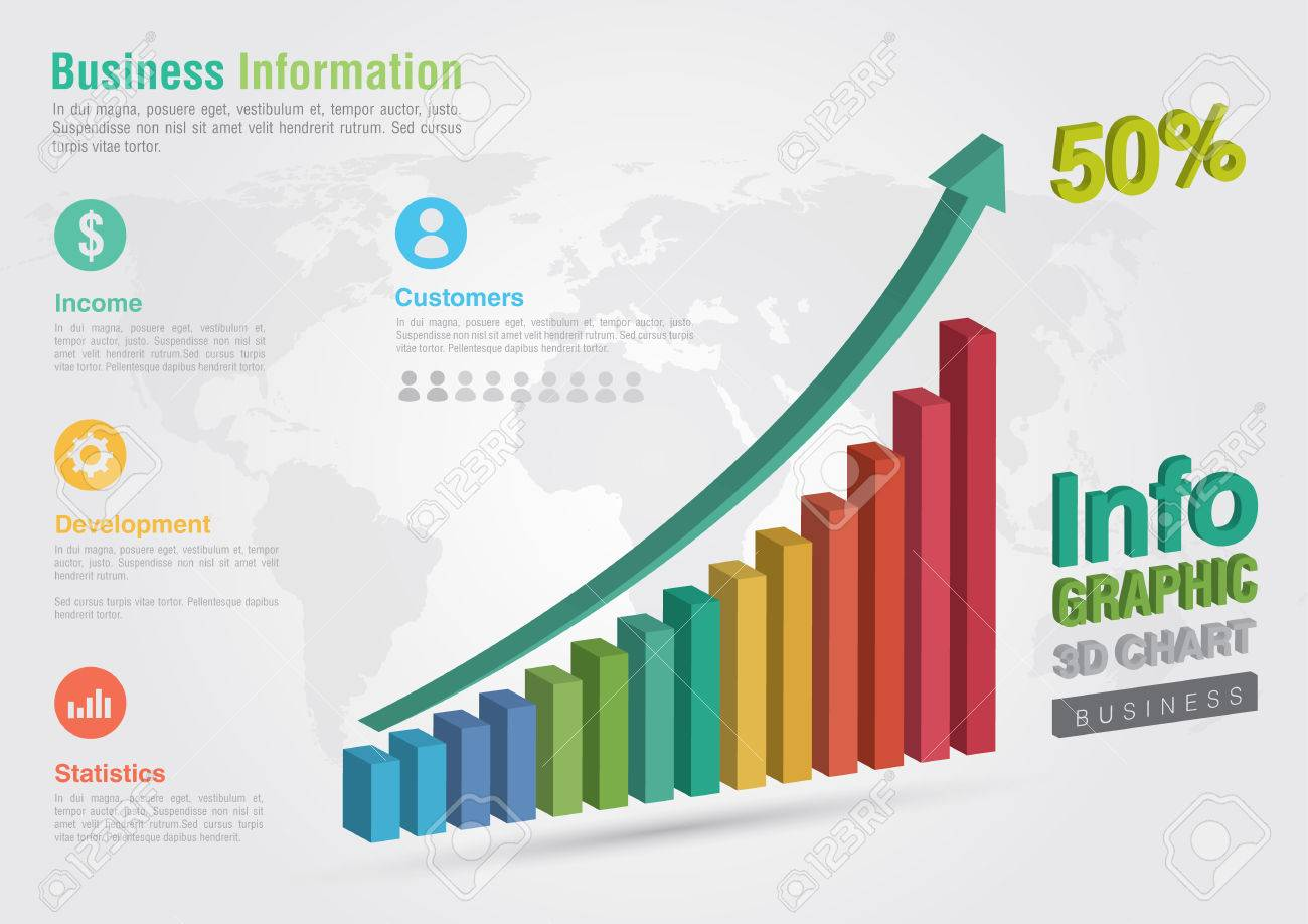 business 3d line chart infographic. business report creative