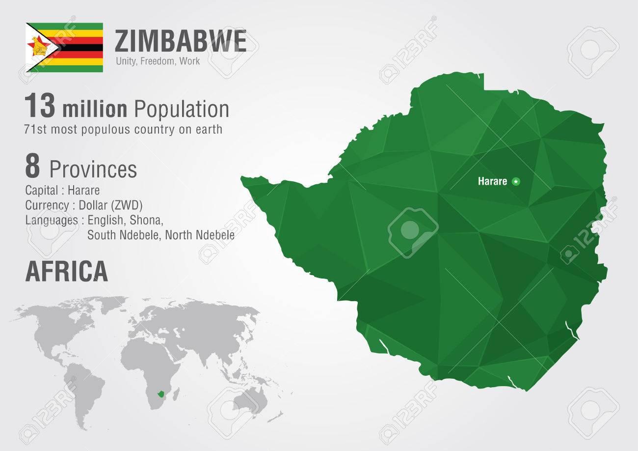 Zimbabwe World Map With A Pixel Diamond Texture. World Geography ...