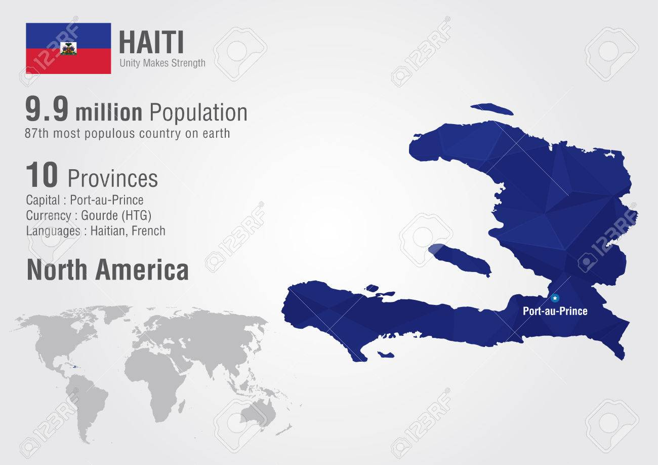 Haiti Map Of World.Haiti World Map With A Pixel Diamond Texture World Geography Royalty