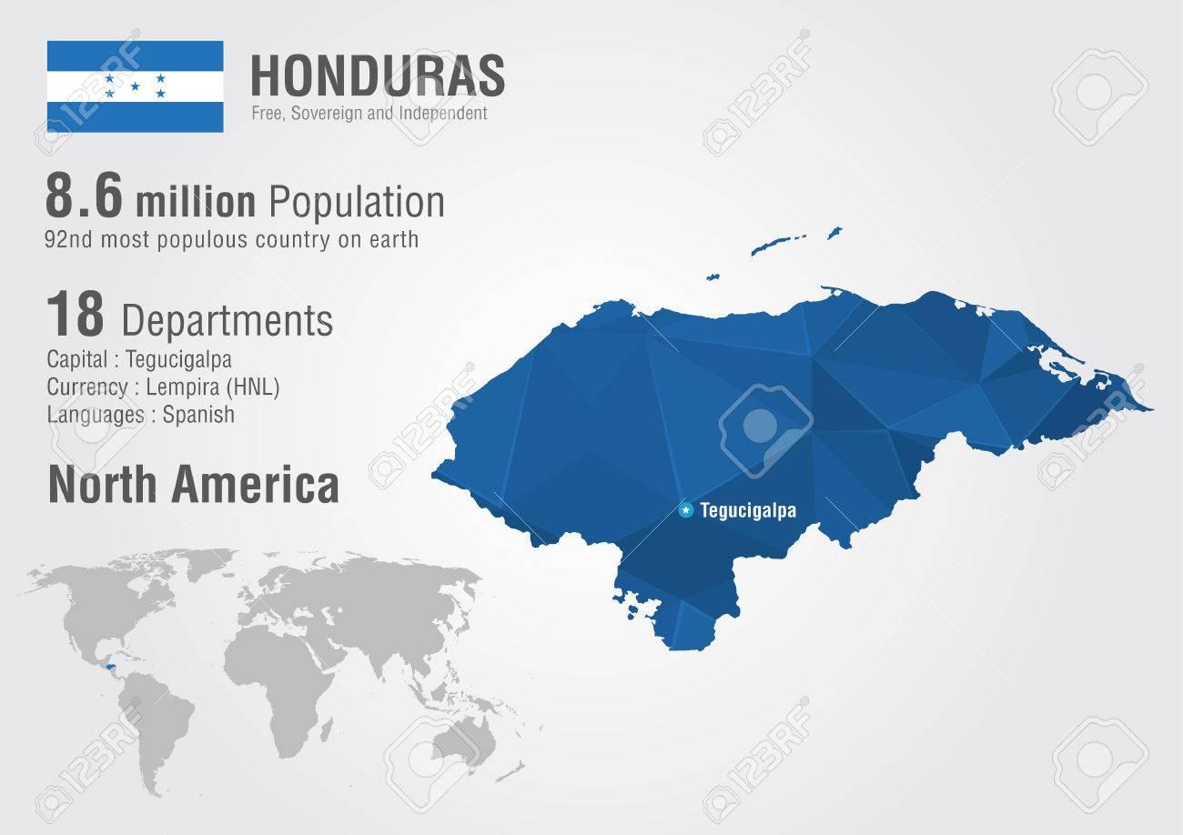 Honduras World Map With A Pixel Diamond Textire World Geography