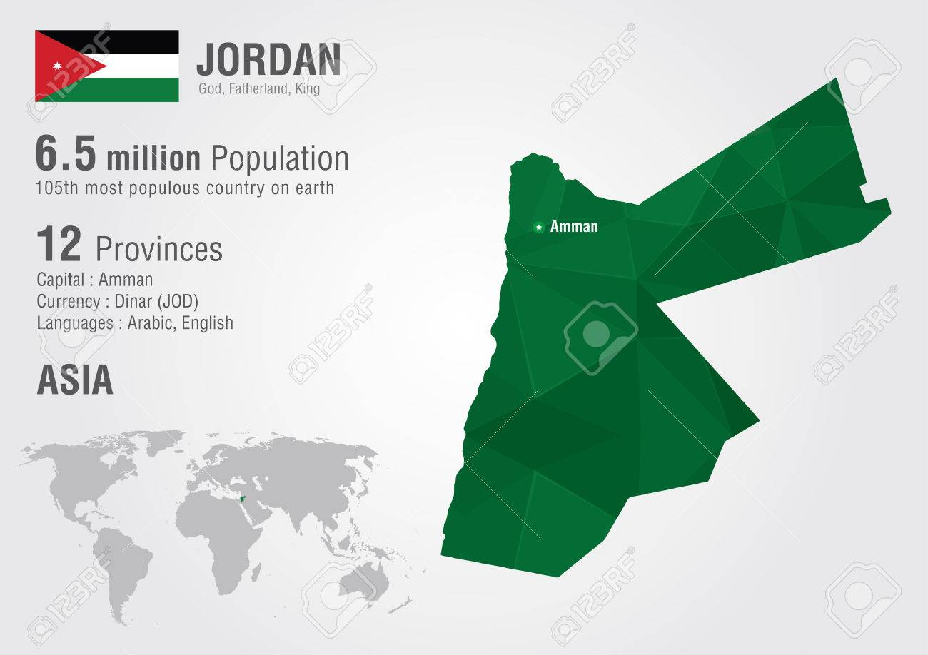 Jordan World Map With A Pixel Diamond Texture World Geography