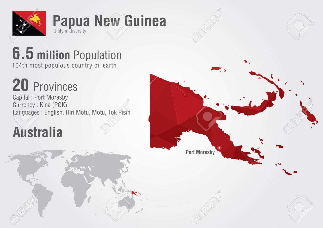 Papua New Guinea World Map With A Pixel Diamond Texture. World ...