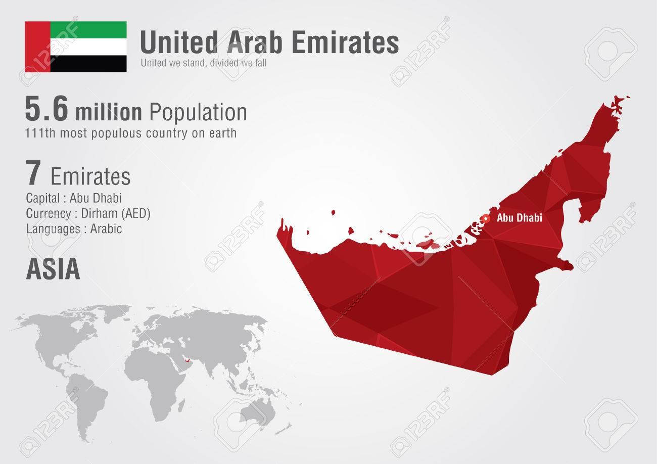 UAE United Arab Emirates World Map With A Pixel Diamond Texture