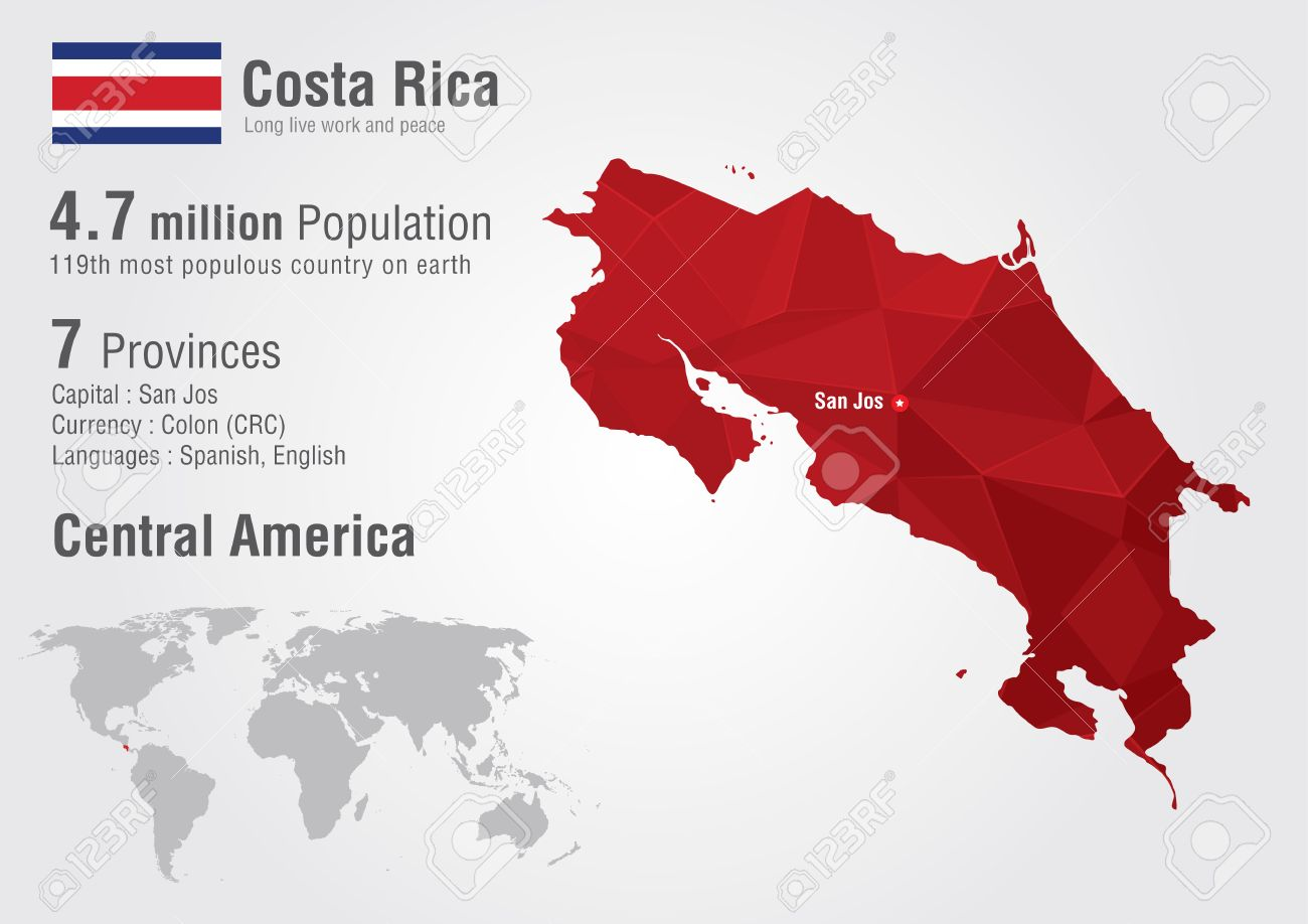 Costa Rica World Map With A Pixel Diamond Texture. World Geography ...