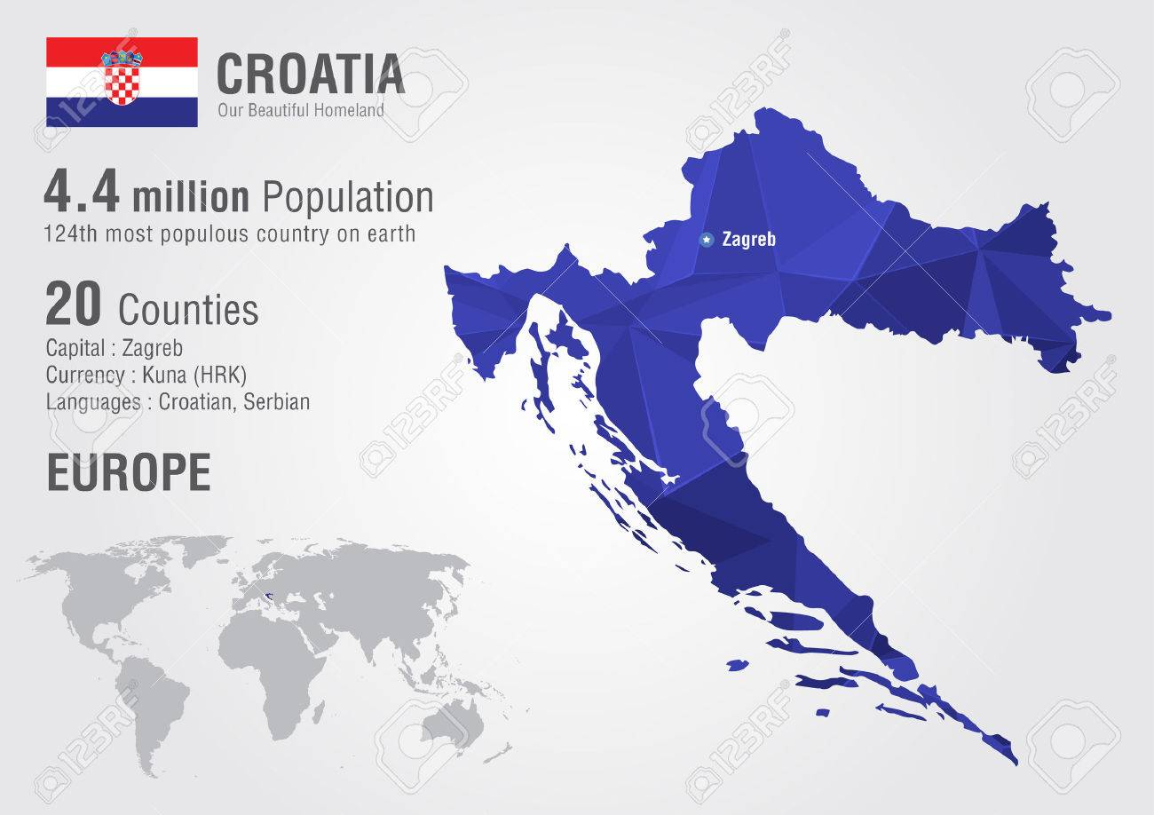 Croatia World Map With A Pixel Diamond Texture. World Geography ...