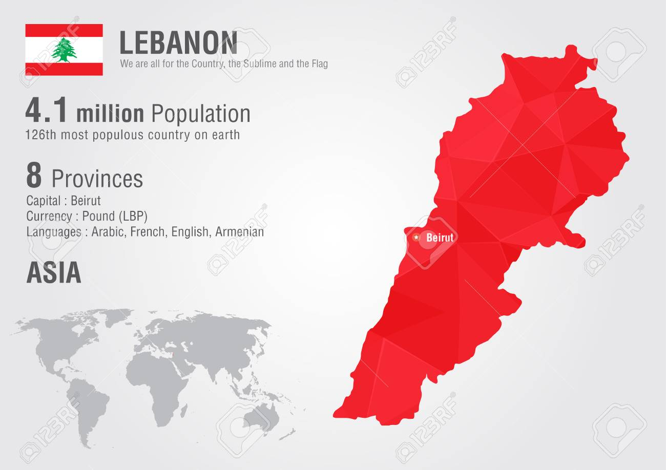 Lebanon World Map With A Pixel Diamond Texture. World Geography ...