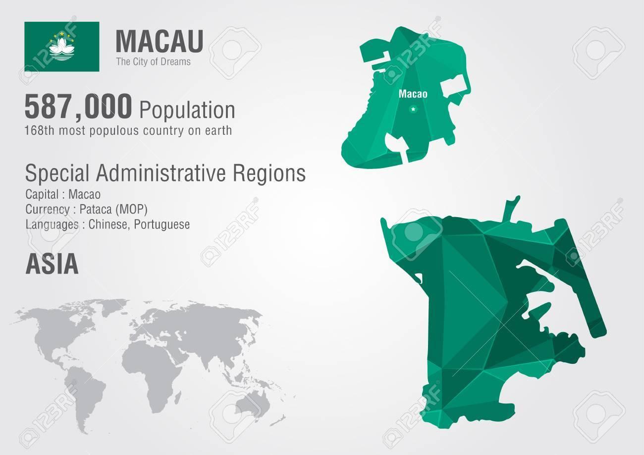 Macau On World Map.Macau World Map With A Pixel Diamond Texture World Geography