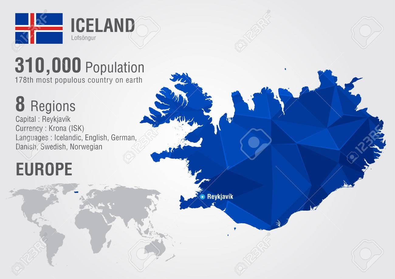 Iceland Island World Map With A Pixel Diamond Texture. World ...