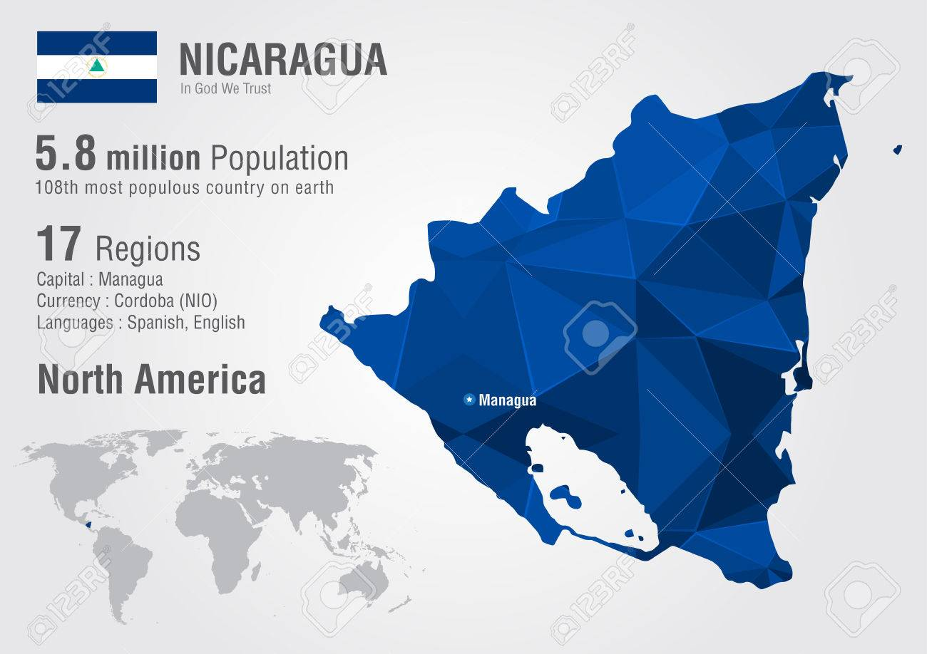 Nicaragua Location On World Map.Nicaragua World Map With A Pixel Diamond Texture World Geography