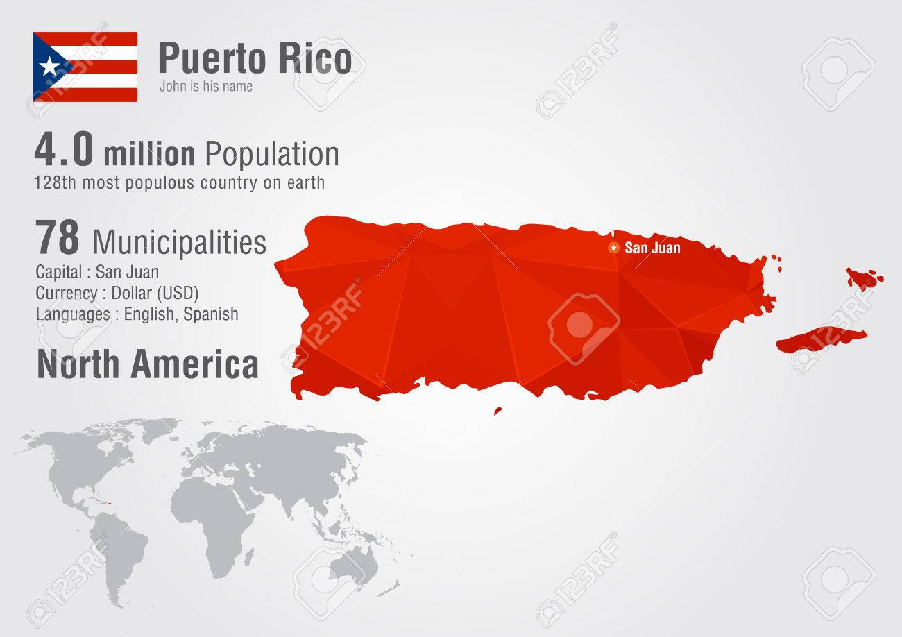 Puerto Rico World Map With A Pixel Diamond Texture. World Geography ...