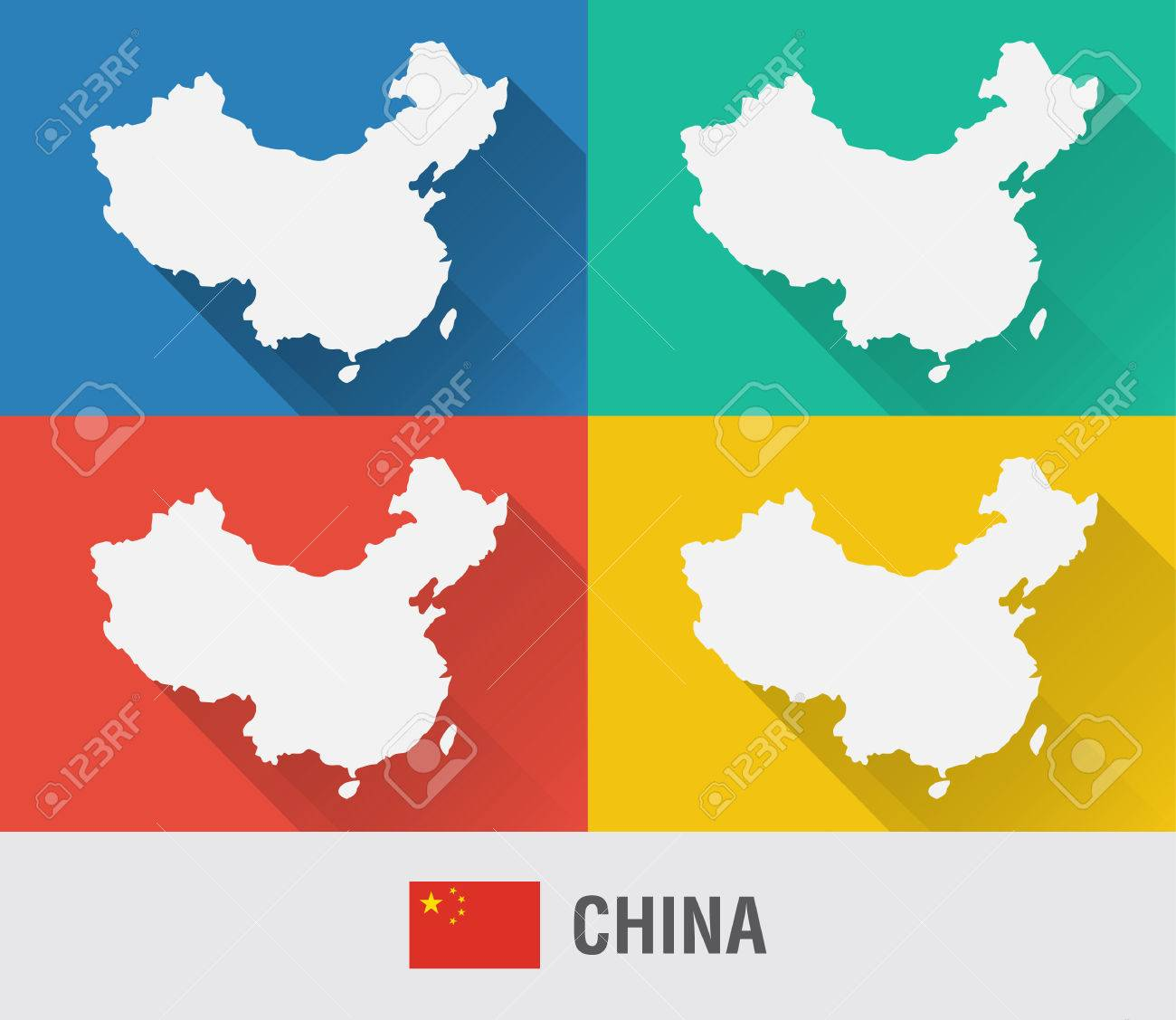 China World Map In Flat Style With 4 Colors. Modern Map Design ... on