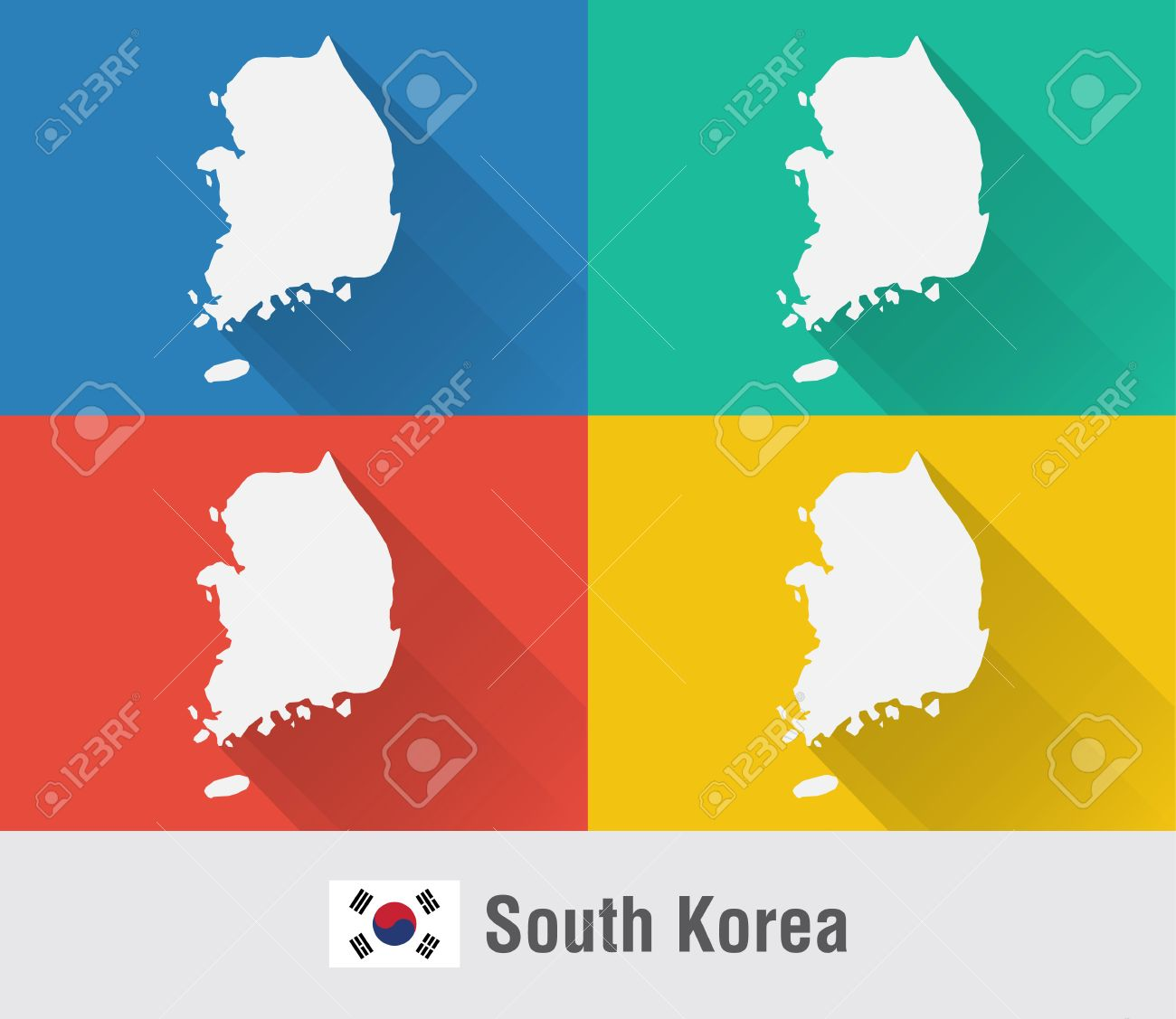 South Korea World Map In Flat Style With 4 Colors. Modern Map ...